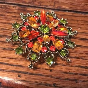Rhinestone brooch with fall colors